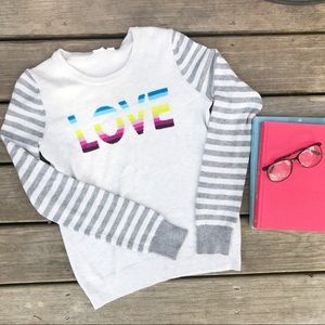 GAP rainbow LOVE sweater with striped sleeves